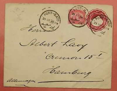 1906 Egypt Port Said Cancel Uprated Stationery Cover To Germany