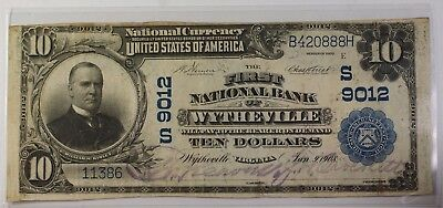 US $10 National Banknote 1st National Bank of Wytheville VA Series 1902 #9012