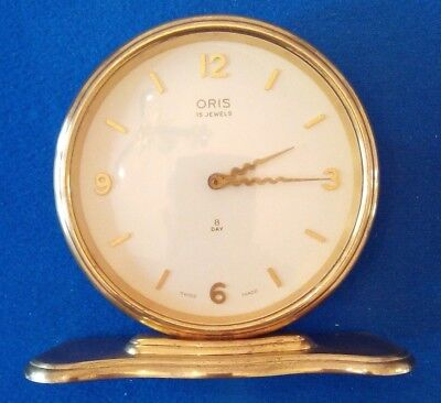 Oris Mantel Clock 15 jewels 8 Day,  Brass,  Swiss Made, 1950s