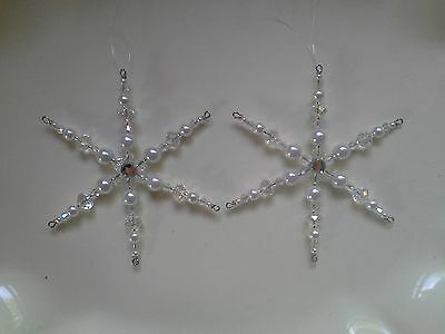Two Glass Pearl Beaded Snowflake Ornament Suncatcher Decorations