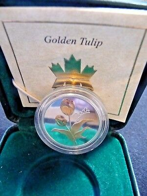 Canada Golden Tulip Sterling Silver 50 Cent Coin W/Box & Coa