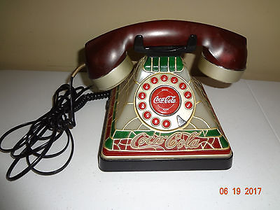 Coca Cola Stained Glass Look Light Up Desk Phone Telephone