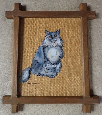 Reverse Glass Painting Framed Grey Gray Cat Nancy Chilson 1985 ~ FREE SHIPPING