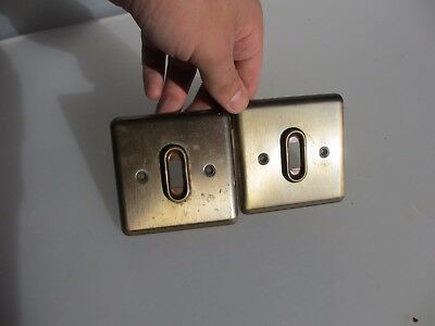 "Vintage Brass Light Switch Square Plate Retro Old Pair       3.5""W/H"