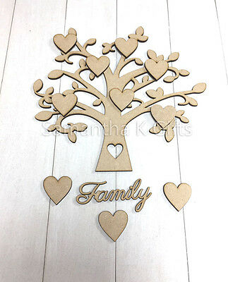 Family Tree Set MDF Wooden Wedding Guestbook Laser Cut Craft Blank Shape 15x16cm