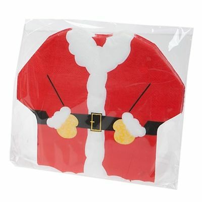 PACK OF 16 x CHRISTMAS XMAS SANTA CLAUSE SHAPED NAPKINS DINNER TABLE PARTY DECOR