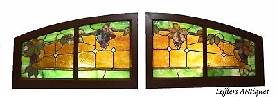 Pair Antique Arched Leaded Stained Glass Windows Grapes And Vines