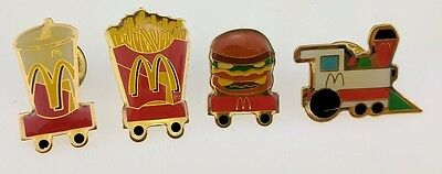 McDonald's Food Train Pin Four Burger Fries Soft Drink Fountain Crew Lapel