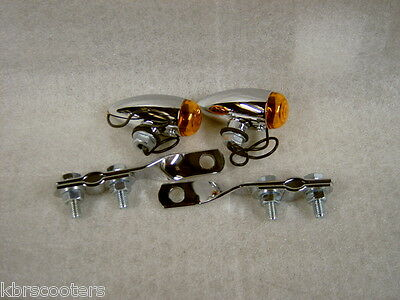 2 Chrome Bullet Lights With Amber Lens,twisted Brackets Fit Lambretta,vespa