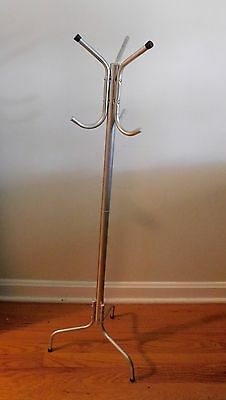 Vintage Mid Century Modern Child Size Aluminum Coat Rack Clothes Hall Tree Stand