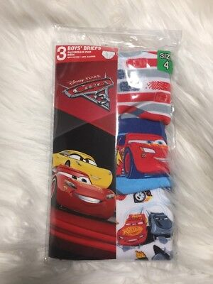 Disney Pixar Cars Underwear Underpants Boys 3 Pk Briefs Sz 4T NEW toddler