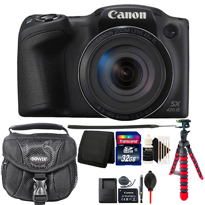 Canon PowerShot SX420 IS HD Wi-Fi 20MP Digital Camera + Top Accessory Kit Black