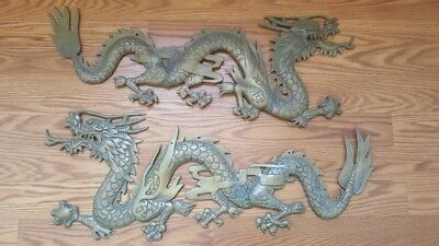 "Gigantic 30"" Long- Fabulous Pair Of Vintage Brass Dragon Wall Plaques"