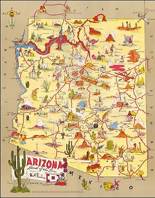 1906 pictorial map Arizona Land of the Sun POSTER 51745