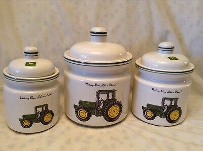 John Deere 3 Piece Canister Set Tractor Green Gibson Nothing Runs Like A Deere