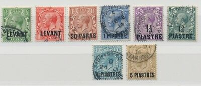 British Levant 1913 King George V. set of 8 MiNr 37 - 44 5 Pia. Stamboul Cancel