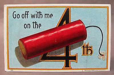 1908 Julius Bien #7002 GO OFF WITH ME ON THE 4th (of July) embossed postcard