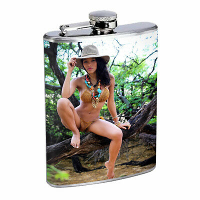 Indiana Pin Up Girls D1 Flask 8oz Stainless Steel Hip Drinking Whiskey