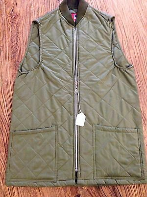 Gilet Nylon Quilted Diamond Pattern Made In England Green Size Small Broken Zip