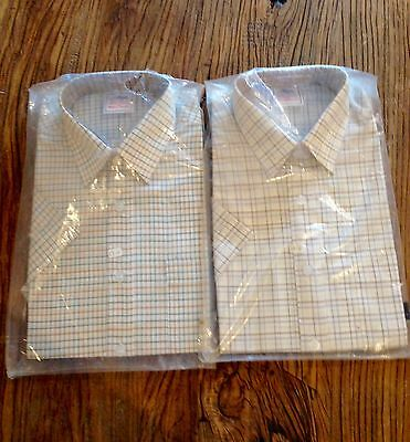 Men's Check Casual Shirt By Beaver Of Bolton Ltd Green Or Brown Check Size Small