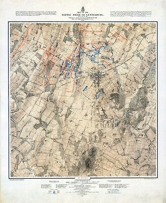 1876 of the Battle of Gettysburg  shows three daysSET THREE of MAP POSTERS 11605