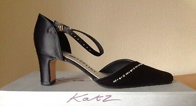 New In Box Katz Topline Black Satin Dancing/Evening/Party Shoes Size 6