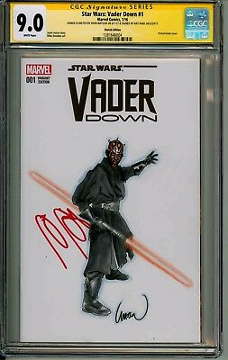 Vader Down  #1  Cgc Ss 9.0  Signed By Ray Park & Sketched By John Watson