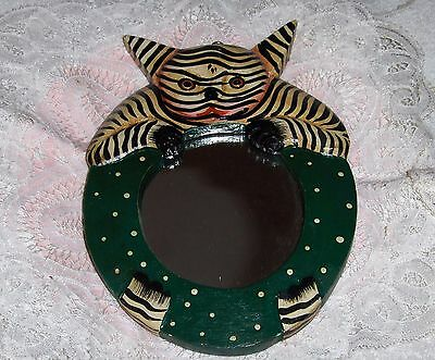 Vtg Wooden Folk Art Cat Figurine Hand Painted Cat Mirror Wall Hanging Indonesia