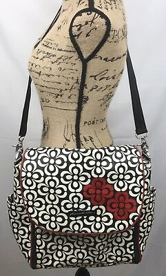Petunia Pickle Bottom Boxy Backpack Diaper Bag Floral Black Red Embroidered