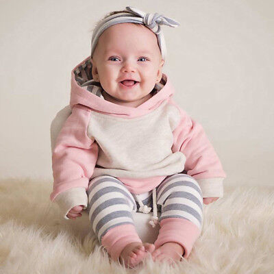 UK Toddler Baby Girls Winter Outfits Clothes Hoodie Tops+Pants+Headband 3PCS Set