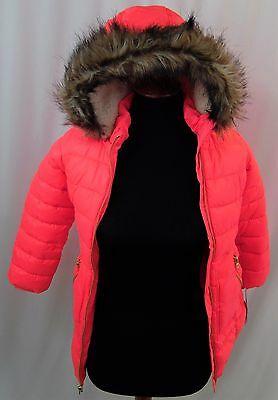 CAT AND JACK Girl's Pink Puffer Long Coat with Faux Fur Hood Size Youth XS (4-5)