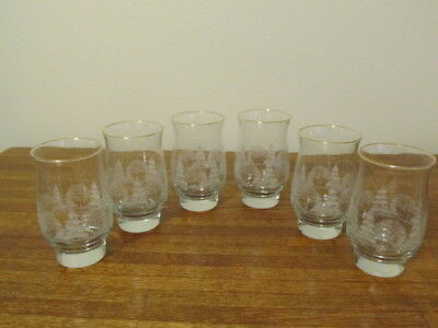Vintage Set of 6 Arby's Christmas White Winter Scene Drinking  Glasses Tumblers