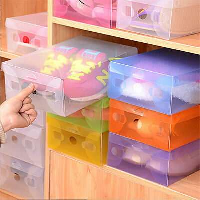 20 Pcs Clear Plastic Storage Shoe  Foldable Organizer Boxes Stackable Tidy BOX