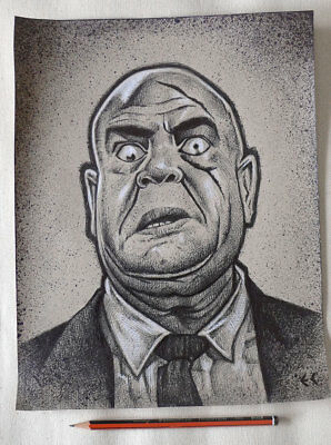 Original Art: Drawing of Tor Johnson from Plan 9 from Outer Space by Eddy Crosby