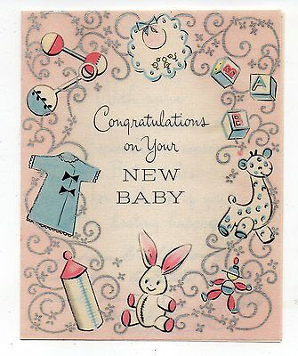 Vintage Hallmark New Baby Greeting Card 1950's