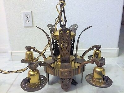 "Antique Art Deco ""Machine Age"" Five-Light Chandelier in Bronze/Brass, c.1920'S"
