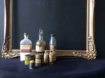 Collection of Very Old Chemical Bottles & tins incl formalin napthol 8 pieces