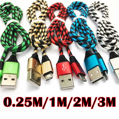 0.8-10FT Strong Braided Sync Charger Cable Lead Adapter For iPhone 5 6 7 Plus