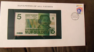Banknotes of All Nations Netherlands 5 gulden 1973 P 95 UNC 2486