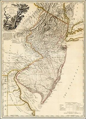 1778 Map POSTER Province of New Jersey Divided into East and West 41906mp2