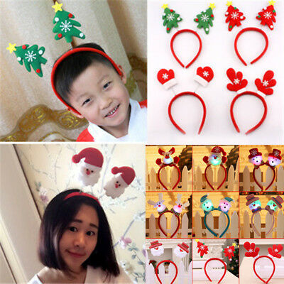 Christmas Hat Adult Kids LED Headband Novelty Costume Hair Clip Reindeer Santa