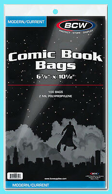 "100 BCW CURRENT / MODERN COMIC BOOK BAGS 6-7/8""x10-1/2"" Clear Plastic Archival"