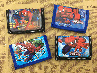1pcs Spiderman Pokemon Minions Wallet Trifold Zip Kids Cartoon Coin Purse Gifts