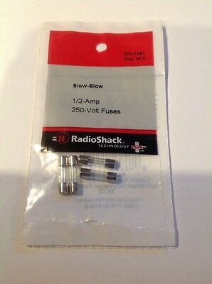 Slow Blow 1/2 Amp 250 Volt Fuses #270-1061 by RadioShack New!!!