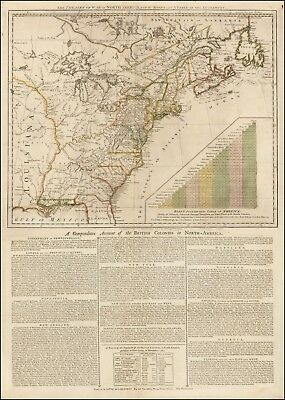 1776 Broadside Map Theatre War American Revolution roads distances POSTER 43988