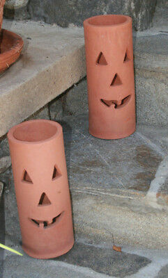 "RED CLAY JACK-O-LANTERN CANDLE HOLDER - 9 3/4"" Tall - 4"" Across"