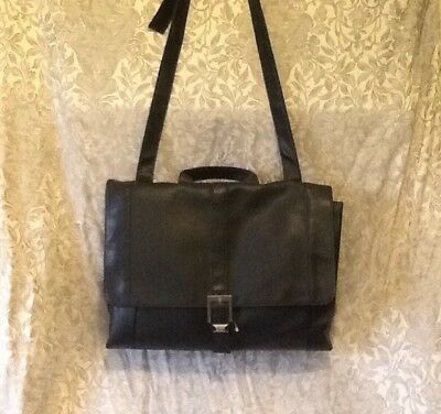 Kenneth Cole Unlisted Woman's Black Tote Computer Messenger Business Bag