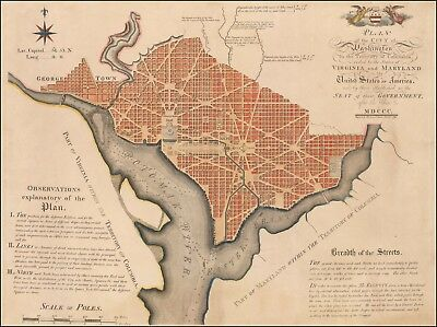 1792 map First Official Plan of Washington D.C. Andrew Ellicott POSTER 45626dw