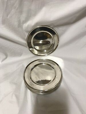 Antique Tiffany Sterling Silver Bread & Butter Plates Set Of 10.