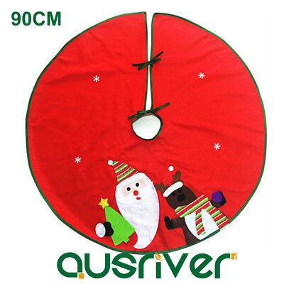 90cm Santa Claus Christmas Tree Skirt Stands Ornaments Xmas Party Decoration
